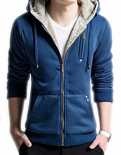 Sans Undertale Costume (Mens Novelty Hoodies Cosplay Costume Sweatshirts with Faux Fur Hood M Blue)