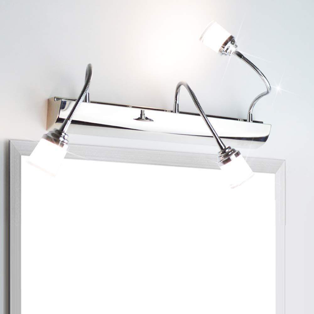 Modern Einstellbar Drehen LED Edelstahl Spiegelleuchte Spiegel Lampe Wandleuchte Bad Make Up Spiegelschrank Leuchte Wasserdicht Badleuchte K/üche Hotel Schrank Licht Acryl Neutral Wei/ß 4500K 9W