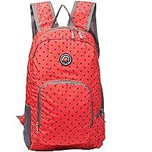 Hopsooken Travel Backpack for Schools - 25L Waterproof Dot Ultra Lightweight Daypack Bag for Women and Men, School Backpack for Girls, Boys, College Student (Red)