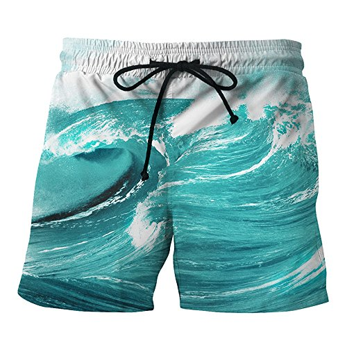 Mens Swim Trunk 2018 New On Sale,Quick Dry Slim Fit Shorts Basic Watershorts with Drawstring for Beach Surfing Running (Waves, XL=Waist:29.9-37.0