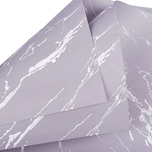 BBC Marble Flower Packaging Paper Floral Wraps Gift Packaging 20 Sheets 23.6x23.6 Inch (Gray)