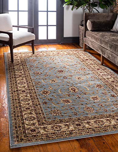 Unique Loom Voyage Collection Traditional Oriental Classic Light Blue Area Rug (9' 0 x 12' 0) (Rugs Blue Traditional)
