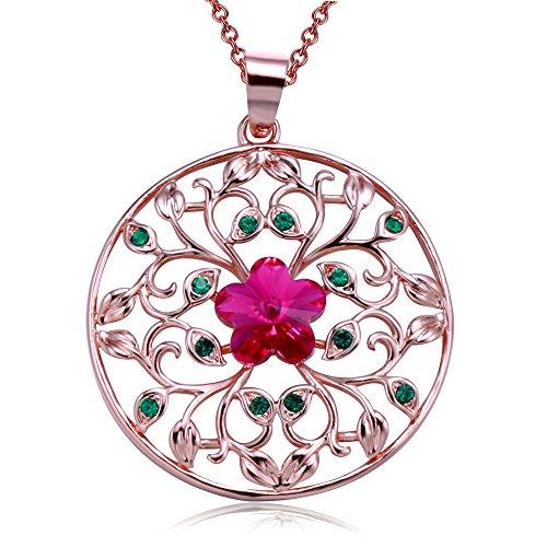 Angelady Garden of Dreams Filigree Circle Pendant Necklace,Crystal from Swarovski,gifts for women birthday Filigree Garden