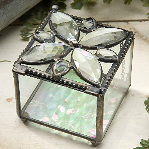 J Devlin Box 711 Crystal Jeweled Glass Box with Iridescent Bottom 2 3/4 x 3 x 2