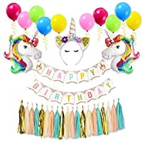 Unicorn Balloons Birthday Girl Decorations-Party Decor Unicorn Birthday Party Supplies for Kit Included Happy Birthday Banner, Colorful Balloons, Unicorn Crown,Hanging Paper Flowers for Girls Birthday