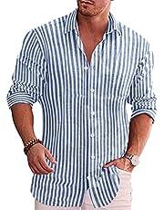 COOFANDY Men's Casual Button Down Shirt Business Long Sleeve Chambray Shirt