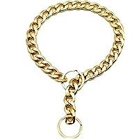 Lubudup Halsband för hundar, guld hundhalsband halsband, justerbart 18K starkt rostfritt stål metalllänkar halskedja för…