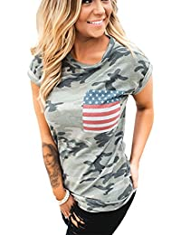 Women's American Flag Tee Shirts Short Sleeve 4th July Patriotic USA Flag Blouse Tops