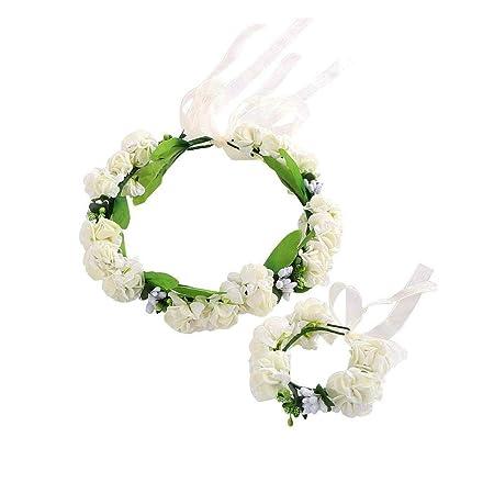 c89d4600e71f8 Amazon.co.jp: お花の冠 髪飾り結婚式の花 ガールの花輪 結婚式の花輪セット 花かんむり ロマンチック  ビューティー
