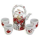 Porcelain Red and White Cherry Blossom Tea Set (China)