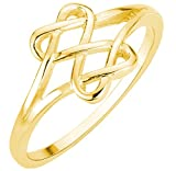 CloseoutWarehouse Yellow Gold-Tone Plated Silver Hearts Infinity Fusion Ring Size 7