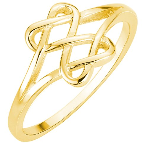 Yellow Gold-Tone Plated Silver Hearts Infinity Fusion Ring Size 4