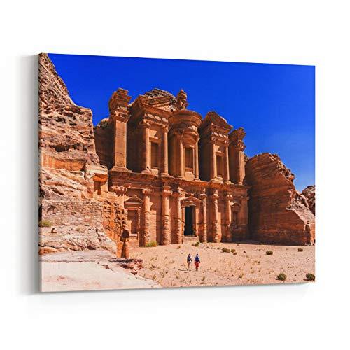 Rosenberry Rooms Canvas Wall Art Prints - Famous Facade of Ad Deir in Ancient City Petra, Jordan Monastery in Ancient City of Petra The Temple of Al Khazneh in Petra ()
