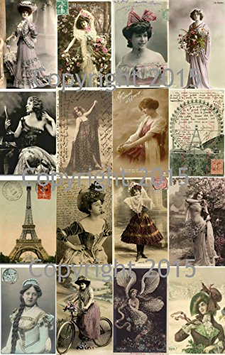 Vintage Printed French Reproduction Post Cards Collage Sheet #101 Scrapbooking, Decoupage ()