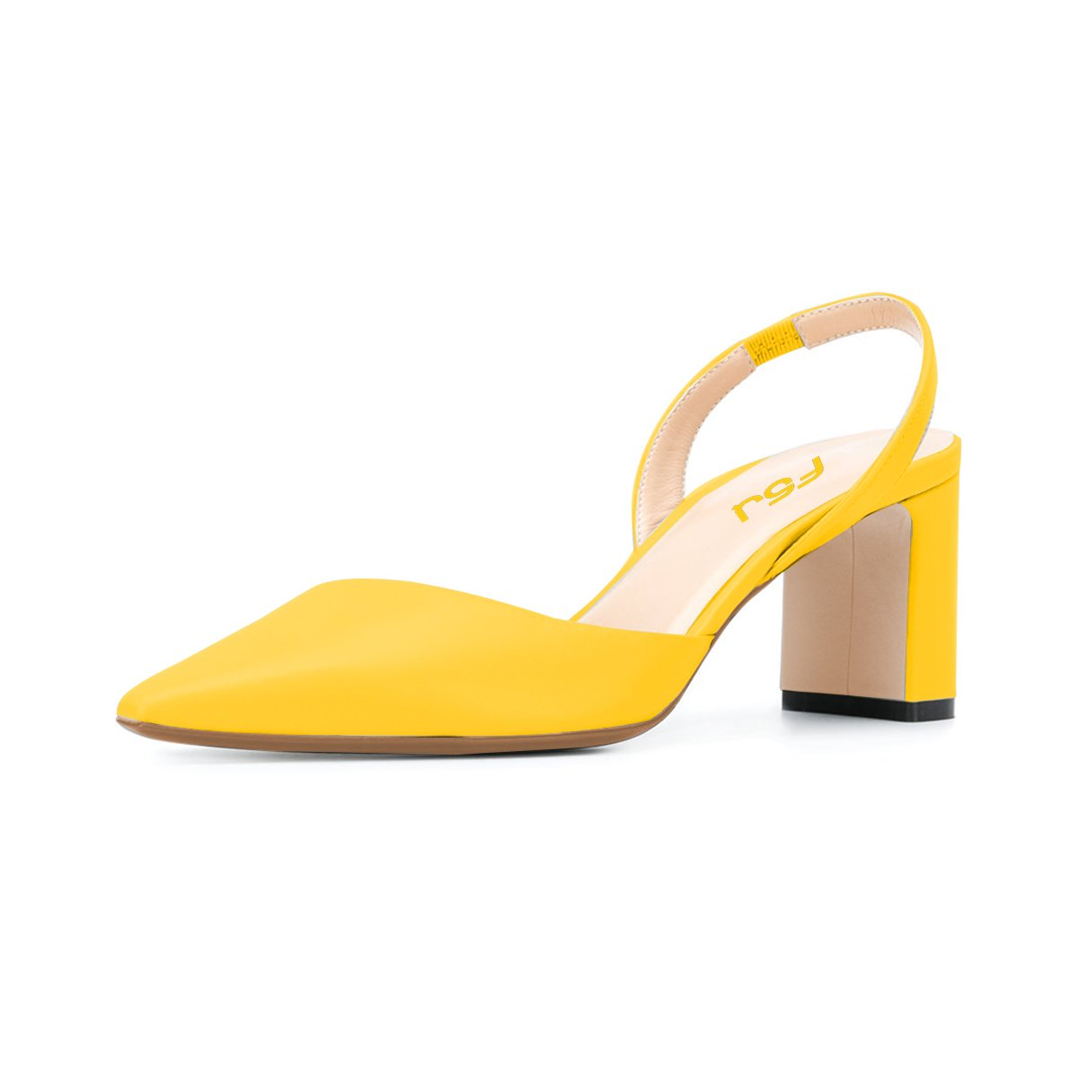 FSJ Women Classic Pointy Toe Pumps Chunky Mid Heels Slingback Sandals Comfortable Shoes Size 4-15 US B07BXRMZH8 10 B(M) US|Yellow