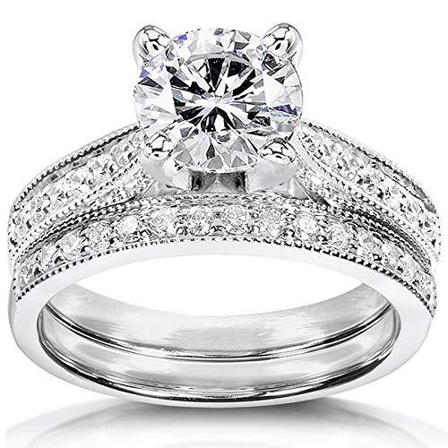 - Round Moissanite Pave-Set Bridal Set 1 1/3 CTW 14k White Gold, Size 9, White Gold