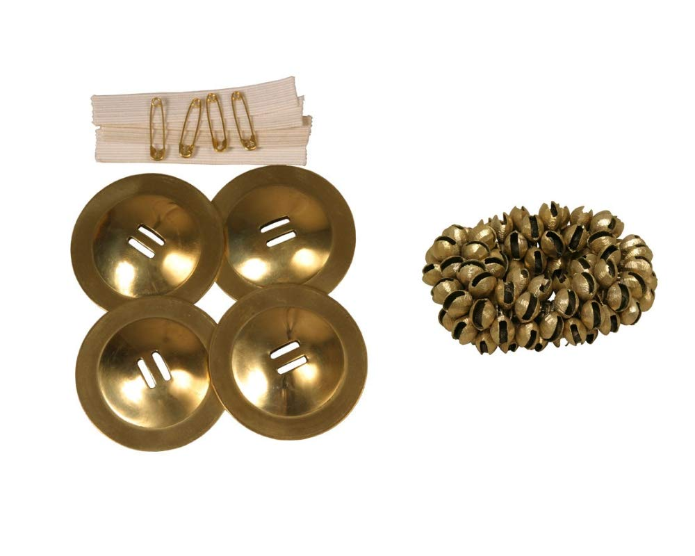 Zills Package Includes: Student Belly Dance Finger Cymbals Dancing Brass + 100 Belly Dancing Brass Clam Bells Ankle by Mid-East