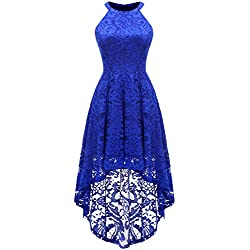 Dressystar 0028 Halter Floral Lace Cocktail Party Dress Hi-Lo Bridesmaid Dress XXL Royal Blue