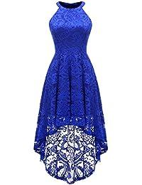 Women's Halter Floral Lace Cocktail Party Dress Hi-Lo...