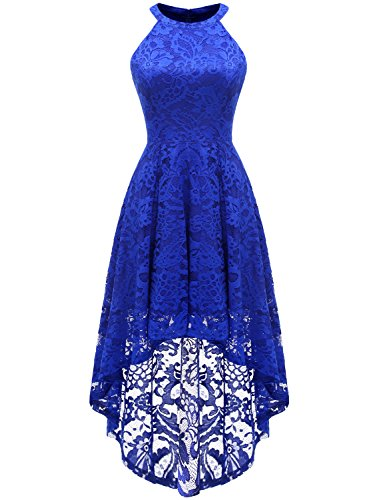 (Dressystar 0028 Halter Floral Lace Cocktail Party Dress Hi-Lo Bridesmaid Dress XXL Royal Blue)