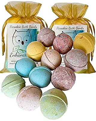 """Double Gift Set, 12 Wholesale Mother's Day Bath Bombs from Enhance Me- Handmade with Organic Sustainable Palm Oil and Lush Shea Butter Organic Sustainable Palm Oil, """"See, Smell and See The Difference"""""""