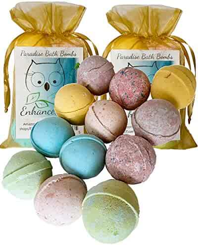 Double Gift Set, 12 Wholesale Bath Bombs from Enhance Me- Handmade with Shea Butter and Organic Sustainable Palm Oil,