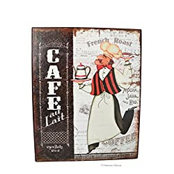 Vintage Coffee Cafe & Fat French Chef Bistro 10 Metal Wall Sign Plaque Decor