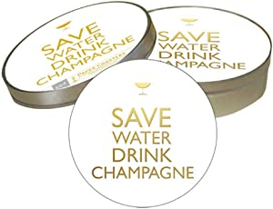 """Paperproducts Design Decorative Coaster Set – Tabletop Disposable Pulpboard Beverage Coasters – Cocktail Coasters For Birthdays, Parties, Celebrations – Set of 6 – 4"""" Round, Drink Champagne Design"""