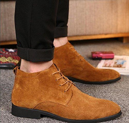 Heart&M botas casual cuero alta corte gamuza cuero Martin/corto de hombres Brown