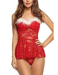 Avidlove Womens Lingerie Red Christmas Babydolls Lace Chemises