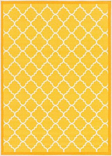Well Woven 65115 Kings Court Brooklyn Trellis Modern Gold Geometric Lattice 5' x 7' Indoor/Outdoor Area Rug ()