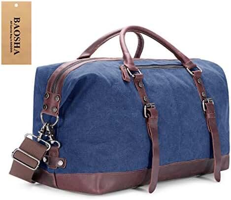 BAOSHA Oversized Canvas PU Leather Travel Tote Duffel Bag Carry on Bag Weekender Overnight Bag