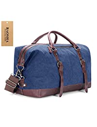 BAOSHA Oversized Canvas PU Leather Travel Tote Duffel Bag Weekender Overnight Bag (Blue)