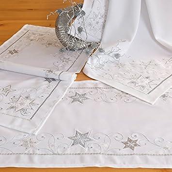 Tischlaufer 40 X 140 Cm Tischdecke Weihnachten Weiss Silber Tischdeko