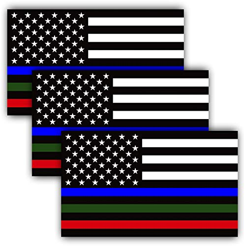 Anley 5 X 3 inch Thin Line US Flag Decal - Blue Green and Red Reflective Stripe American Flag Car Stickers - Support Police Military and Fire Officers (3 Pack) -