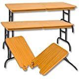 Set of 3 Wood Color Break Away Tables for Wrestling Action Figures