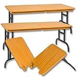 Set of 3 Wood Color Break Away Tables for Wrestling Action Figures