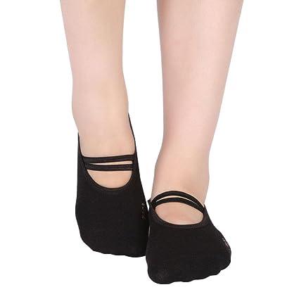 Pawaca Yoga Pilates Danza Calcetines Antideslizante Algodón Yoga Calcetines de suelo Calcetines para mujer, negro