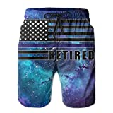 Men's USA Flag Retired Thin Blue Line Quick-Dry Lightweight Fashion Board Shorts Swim Trunks XXL