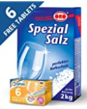 Dishwasher Detergent Salt, 2Kg Plus FREE 6 SPIN Dishwasher Tablets, MADE IN GERMANY