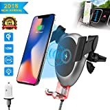 Fast Qi Wireless Charger Car Mount, Wireless charging Air Vent Car Cradle Phone Holder with QC 3.0 Plug for iPhone X 8/8 Plus, Samsung Galaxy S8, S7,S6/S7 Edge, Note 8 5 & All Qi Enabled Device