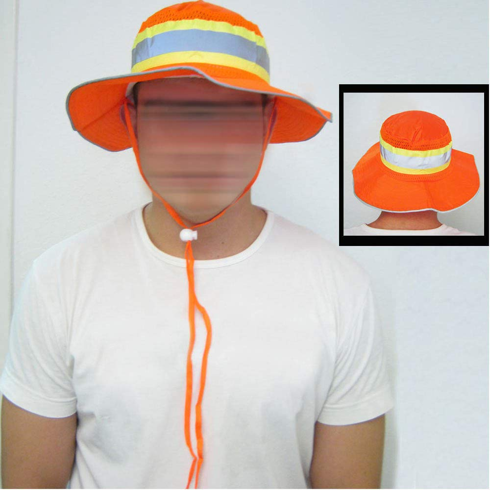 Ironwear 1271-O Booney Hat with Adjustable Neck Strap, LG/XL, Orange (100) by Ironwear (Image #4)