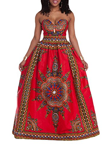 Women's African Print Dashiki Off Shoulder Strapless Party Long Maxi Dress