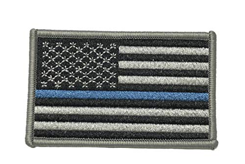 Thin Blue Line American USA Flag Tactical Military Morale Embroidered Patch America Military US World Flag Logo History Series Theme Iron or Sew-on Uniform Emblem Badge DIY Appliques Application ()