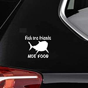 DKISEE Decal Car Sticker Fish are Friends Not Food Fish Decal Decor Car Decal, 6 Inch Vinyl Decal for Car Bumper Truck Window Walls Laptop Sticker