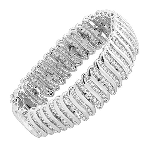 - 2 ct Diamond 'S' Link Tennis Bracelet in Sterling Silver-Plated Brass