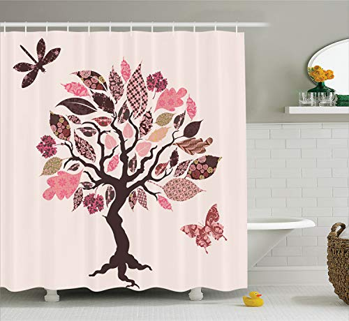- Ambesonne Country Decor Collection, Authentic Tree with Embellished Ethnic Patch Leaves and Dwelling Haven Property Artwork, Polyester Fabric Bathroom Shower Curtain Set with Hooks, Pink Brown