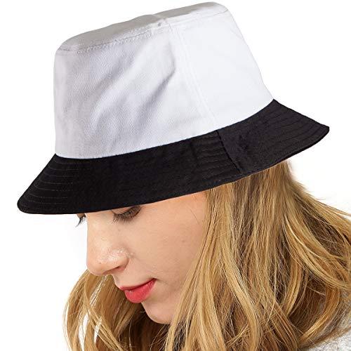 Fashionable Bucket Hat Unisex Summer Cotton Sun Hat Unique Pattern Canvas Hat (Black White 2) ()