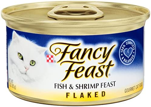 Fancy Feast Flaked Fish Shrimp Feast Cat Food, 3 oz, 24 Cans