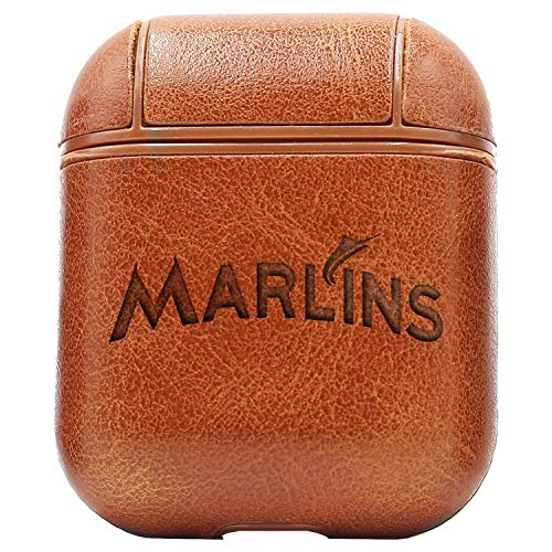 MLB Miami Marlins Logo (Vintage Brown) Engraved Air Pods Protective Leather Case Cover - a New Class of Luxury to Your AirPods - Premium PU Leather and Handmade exquisitely by Master Craftsmen